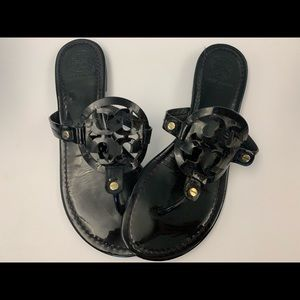 Black Patent Tory Burch Miller Sandals